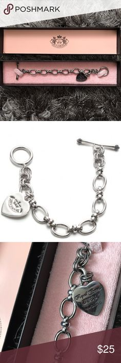 Juicy Couture Silver Bracelet ✨Authentic ✨ Juicy Couture Silver Bracelet   Hardware has a bit of tarnishing and has minor scratches throughout Bracelet Juicy Couture Jewelry Bracelets