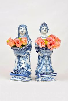 A pair of Delft bouquetieres. Delft Bouquetieres | Courtesy Aronson of Amsterdam King William & Queen Mary Delft Figures, Reunited (c.1690)  Being shown together for the first time since being reunited by Aronson Antiquairs earlier this year, this pair of Delft figures represents the royal couple King Willem III and Queen Mary II. William and Mary, best known for establishing Protestantism as the norm following England's Glorious Revolution, are depicted in casual dress holding floral…