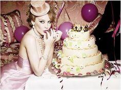 kylie minogue and a birthday cake by ellen von unwerth