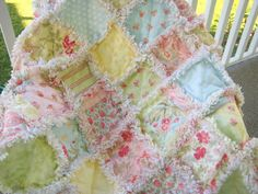Rag Quilt  Dreamy Pastels  Baby Toddler Large Crib by PeppersAttic, $115.00
