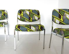 Chauffeuses LaMetisse, Upholstered chrome lounge chairs