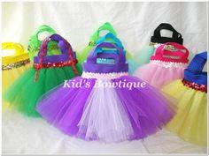 Set of 8 Tangled Rapunzel Inspired Princess Party Favor Tutu Bags