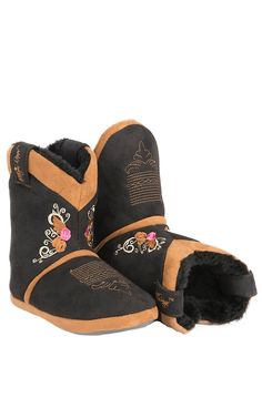 Blazin Roxx® Kid's Black & Brown with Embroidery Cowboy Boot Slippers