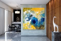 """See our website for additional details on """"abstract art paintings acrylics"""". It is actually an outstanding spot for more information. Blue Abstract Painting, Yellow Painting, Abstract Wall Art, Abstract Paintings, Extra Large Wall Art, Office Wall Art, Watercolor Artists, Street Art Graffiti, Texture Painting"""
