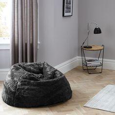 Buy John Lewis Extra Large Faux Fur Bean Bag Grey Online At Johnlewis