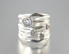 Brilliant Wave Stacked Ring by Camla on Etsy, sterling silver cz stones