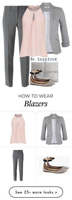 | Office Look Cinza e Rosa - Calça de Alfaiataria + Camisa + Blazer + Sapatilha ou Scarpin + Carteira |