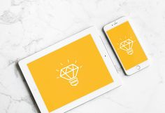 White iPad with iPhone Mockup | MockupWorld