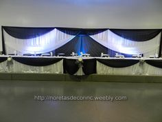 Beautiful black and white wedding decoration and backdrop