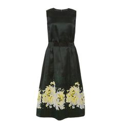 Suno Green Rose Cinched Waist Dress ($950) ❤ liked on Polyvore featuring dresses, midi dress, calf length dresses, green ruffle dress, rose dress and cinched dress