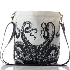 Sea Bags - Octopus Courier made from recycled sails in Maine, USA. Octopus Decor, Octopus Design, Kraken, Disney Inspired Fashion, Painted Shoes, Womens Purses, Tentacle, Marine Life, Octopuses