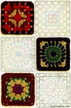 Tita Carré - Agulha e tricot by Tita Carré: Squares de crochet com gráficos 3