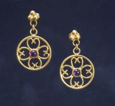 Lana McMAhon:  22KY Gold Filigree Earrings with Cabochon Garnet  $1100