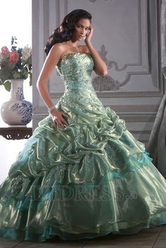 Ball Gown Strapless Floor-length Organza Quinceanera, Prom Dresses Ball Gown Strapless Floor-length Organza  This is so very Beautiful!! A real Dream..K♥