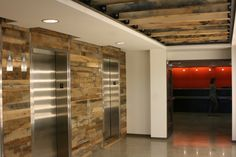 reclaimed wood used in building lobbies - Google Search