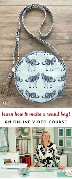 Learn how to make a round bag in this online video course! New bag sewing patterns and an online video course teaching you how to make bags. Learn to make Alice Bag, round bag by Melissa Mortenson Sewing Tutorials, Sewing Hacks, Sewing Crafts, Sewing Projects, Video Tutorials, Bag Patterns To Sew, Sewing Patterns, Alice Bag, Round Bag