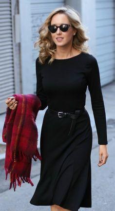 long sleeve black midi dress with belt, plaid blanket scarf, black booties + sunglasses {workwear, michael kors, marc jabobs}