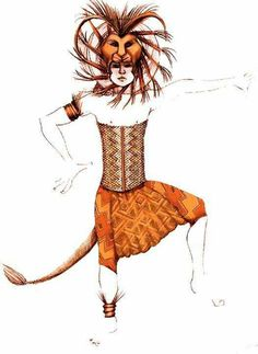 The Lion King' costume design. First, students create a costume design from at least two points of view. Then, students brainstorm ways to construct their design in Broadway Costumes, Theatre Costumes, Movie Costumes, Cool Costumes, Dance Costumes, Costume Ideas, Lion King Play, Lion King Jr, Lion King Broadway