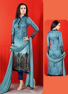 Sky Blue Satin Salwar Suit