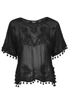 love this sheer pom-pom embroidered top