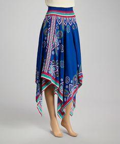 Royal Blue Handkerchief Hem Dress