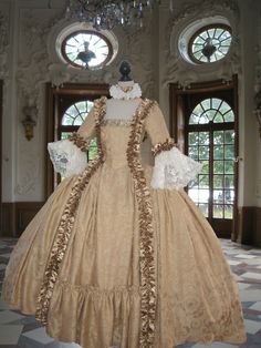 Georgian Rococo Colonial 18th Century Marie Antoinette Court Day Gown | eBay