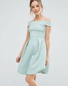 Closet London Bardot Textured Skater Dress Tall Dresses d4f4fdc04