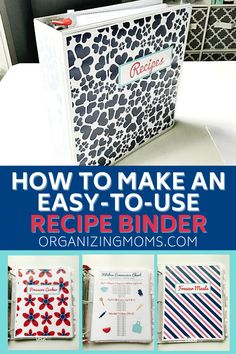 How to put together a simple recipe binder for your kitchen. Easily organize all of your recipes with this quick and simple organization project. #organizingmoms Diy Organizer, Binder Organization, Recipe Organization, Kitchen Organization, Kitchen Storage, Organizing Ideas, Kitchen Tips, Family Recipe Book, Diy Recipe Book