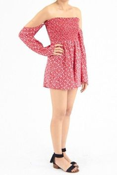 0ada26b7820c Sweet Mello Floral Romper With Belle Slevees