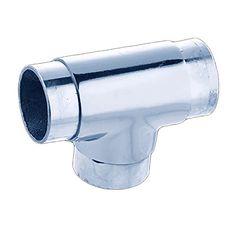 "Chrome Brass TEE Flush Fitting 2"" Bar Foot Handrail | Renovator's Supply"