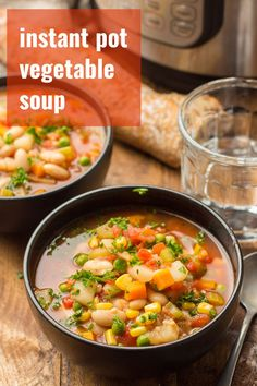 This Instant Pot vegetable soup is so comforting and super easy to make! Loaded with potatoes, corn, peas and carrots in an herbed tomato broth, it's vegan, gluten-free, and full of flavor. #veganrecipes #instantpot #vegetablesoup Quick Soup Recipes, Vegan Dinner Recipes, Bean Recipes, Vegan Dinners, Whole Food Recipes, Veg Soup, Vegetarian Soup, Healthy Soup, Healthy Eats