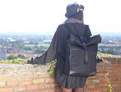 Rollup Backpack Pelle – NERO  - Officine Federali