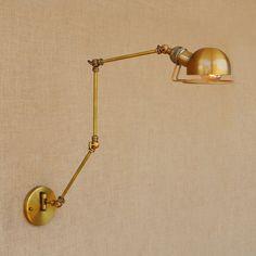 Gold Copper Retro Vintage Wall Lamp Adjustable Long Arm Light Fixtures Edison Loft Style Industrial Wall Sconces Applique LED