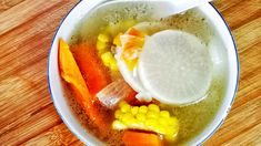 This Chinese vegetable soup is a clear soup with carrot and radish. The soup base is prepared from the chicken bone from scratch. Chinese Soup Recipes, Asian Recipes, New Recipes, Ethnic Recipes, Chinese Vegetable Soup, Chinese Vegetables, Winter Melon Soup, Mother Recipe, Hot And Sour Soup