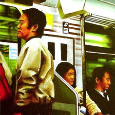 "Japanese Metro (painting of people riding Japanese subway), Gerard Boersma, acrylic on masonite, 6"" x 6"" or 15 x 15 cm, 2008"