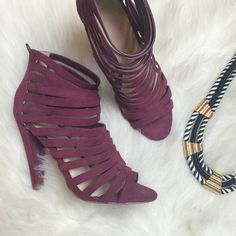 Burgundy Faux Suede Strappy Heels Worn only once for a few hours! Super sassy scrappy heels with stacked heel and zipper back. Fabulous burgundy/ maroon color! Fits size 9 perfectly. ASOS Shoes Heels