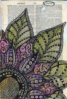 I Have A Purpose Zen Doodle Art Journal Page - Media - Cloth Paper Scissors Mandala Designs Doodle Art Journals, Art Journal Pages, Art Journaling, Zentangle Patterns, Zentangles, Tangle Art, Dictionary Art, Zen Art, Zen Doodle