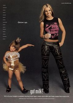 """whymilk.com We all remember it. Got Milk? In the early 2000s every celebrity imaginable posed with the now unmistakable """"white milk mustache"""". This ad features Britney Spears."""