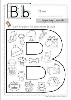 Kindergarten Beginning sounds Worksheet. 30 Kindergarten Beginning sounds Worksheet. Beginning sounds Pack Worksheets and Gumball Game Preschool Letters, Learning Letters, Kindergarten Literacy, Alphabet Activities, English Activities, Letter B Worksheets, Preschool Learning, Kindergarten Worksheets, Phonics Worksheets
