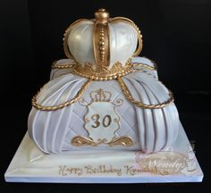 www.wendyscakeart.com Pillow cake, crown, edible crown, fondant crown, 30th birthday cake, lavender cake, gold cake