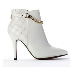 New-Ladies-Womens-High-Stiletto-Heel-Pointed-Toe-Gold-Chain-Ankle-Boots-Size-3-8