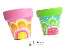 Flower Pot Art, Flower Pot Design, Flower Pot Crafts, Clay Pot Crafts, Diy Crafts, Painted Plant Pots, Painted Flower Pots, Pots D'argile, Clay Pots