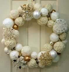 2015 Christmas yarn wrapped ball wreath with silver and golden glitter snowflakes, jingle bells - Christmas ornament, home decor - 2015 Christmas ball wreath decor ideas that you will need ! by leighmason Christmas Yarn, Christmas Bells, Christmas Wrapping, Christmas Projects, White Christmas, Holiday Crafts, Christmas Decorations, Christmas Ornaments, Ornaments Ideas