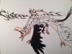 The Black Hearts flew on the backs of twisted flying beasts; not quite dragons, and not quite birds. Fantasy Character Design, Character Art, Epic Drawings, Monster Hunter Art, Art Basics, Graffiti Drawing, Creature Drawings, Monster Design, Creature Concept