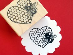 Bee and Heart Honeycomb Rubber Photopolymer Stamp by Blossom Stamps