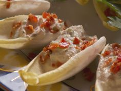 Creamy Crab and Bacon Endive Boats Recipe : Nancy Fuller : Food Network Appetizers For A Crowd, Seafood Appetizers, Finger Food Appetizers, Seafood Recipes, Finger Foods, Appetizer Recipes, Seafood Dishes, Yummy Appetizers, Crab Appetizer