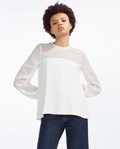 Image 2 of CONTRASTING GEORGETTE BLOUSE from Zara