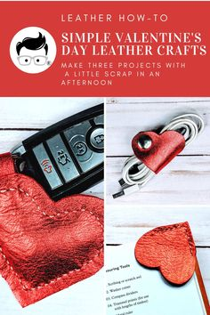 Three easy leather crafts that make for a sweet gift. Put your scrap leather to use and make them today! #valentinegift #leathercraft Sewing Leather, Leather Craft, Valentines Diy, Valentine Day Gifts, Heart Shapes Template, Diy Leather Projects, Leather Gifts, Leather Pieces, Craft Night