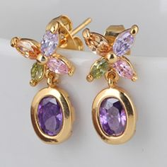 18mm 18K Gold Plated Fashion Petal Flower Inlaid Oval Zircon Women Ladies Copper Earrings
