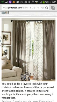 Layered curtains for the living room. I even like the color. It'd be across… Layered curtains for the living room. I even like the color. It'd be across from the Gray wall. Home Living Room, Apartment Living, Kitchen Living, Apartment Therapy, Layered Curtains, Double Curtains, Sheer Curtains, Patterned Curtains, Luxury Curtains